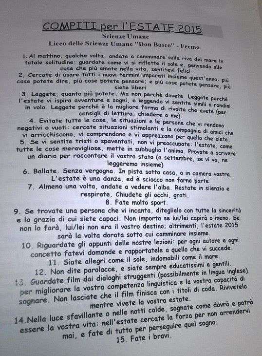 Відмінний літній завдання для учнів італійського викладача Чезаре Ката (6 фото)