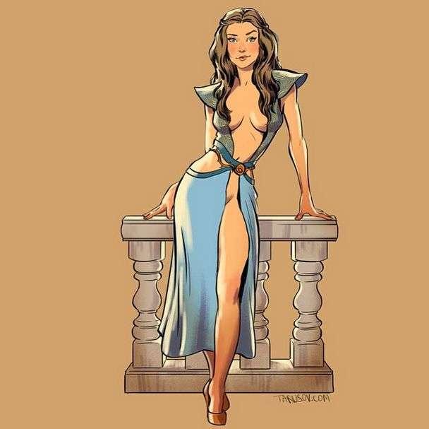 Героїні серіалу «Гра престолів» на картинках в стилі пін-ап (15 картинок)