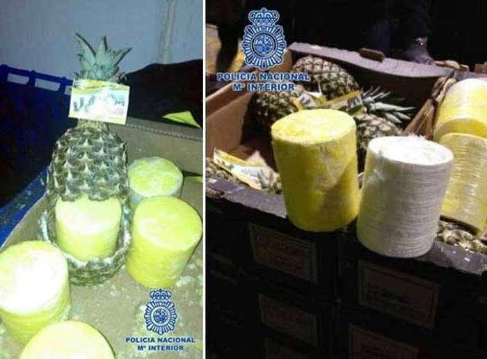 Контрабандисти намагалися перевезти 200 кг кокаїну всередині порожніх ананасах (3 фото + відео)