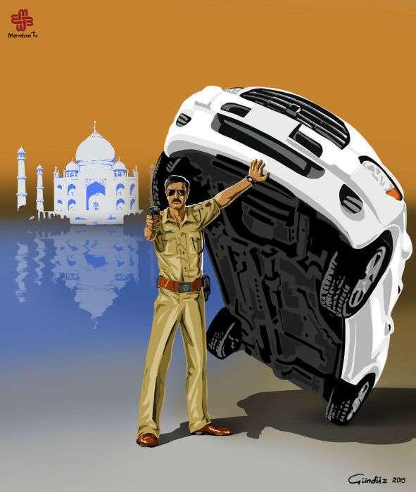 Поліцейські різних країн світу на картинках Гундуза Агаєва (16 малюнків)