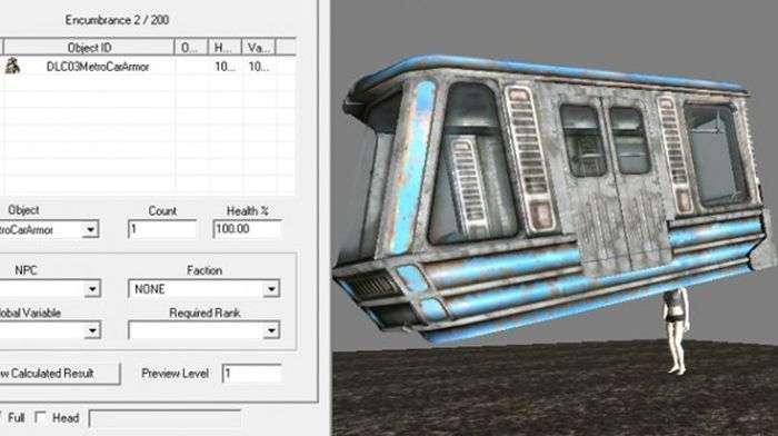 У грі Fallout 3 вагон виявився лише одним із видів броні гравця (2 фото)