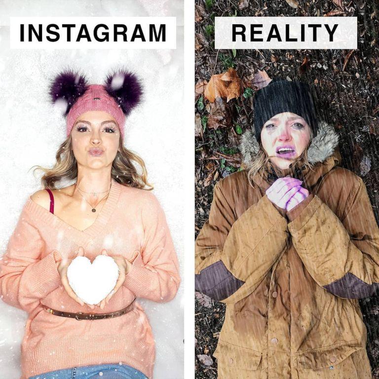 Немка с юморком показывает, как выглядели бы инстаграмные снимки, будь в них хотя бы капля правды юмор, приколы,, Юмор