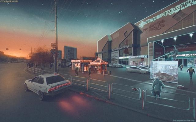 «Россия будущего» на рисунках в стиле «киберпанк» от Андрея Тоболякова. МиР