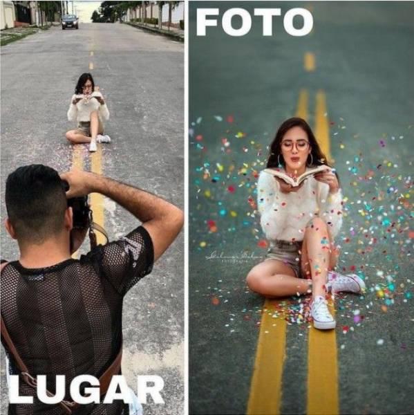 20 фото, показывающих, почему нельзя верить красивым снимкам из соцсетей Интересное