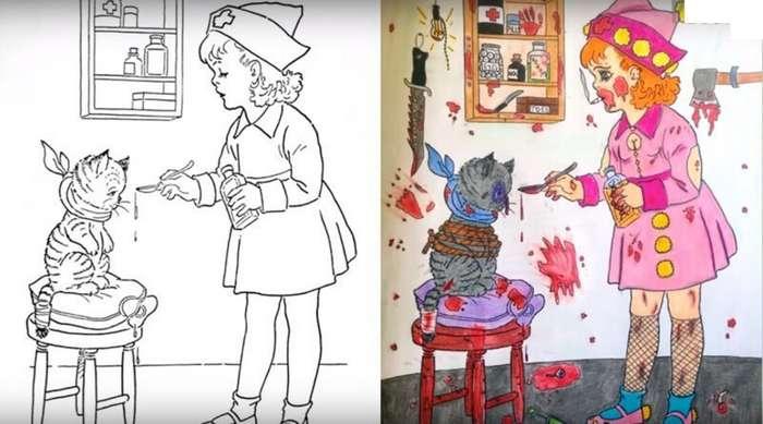 Что бывает когда взрослые добрались до детских раскрасок Интересное