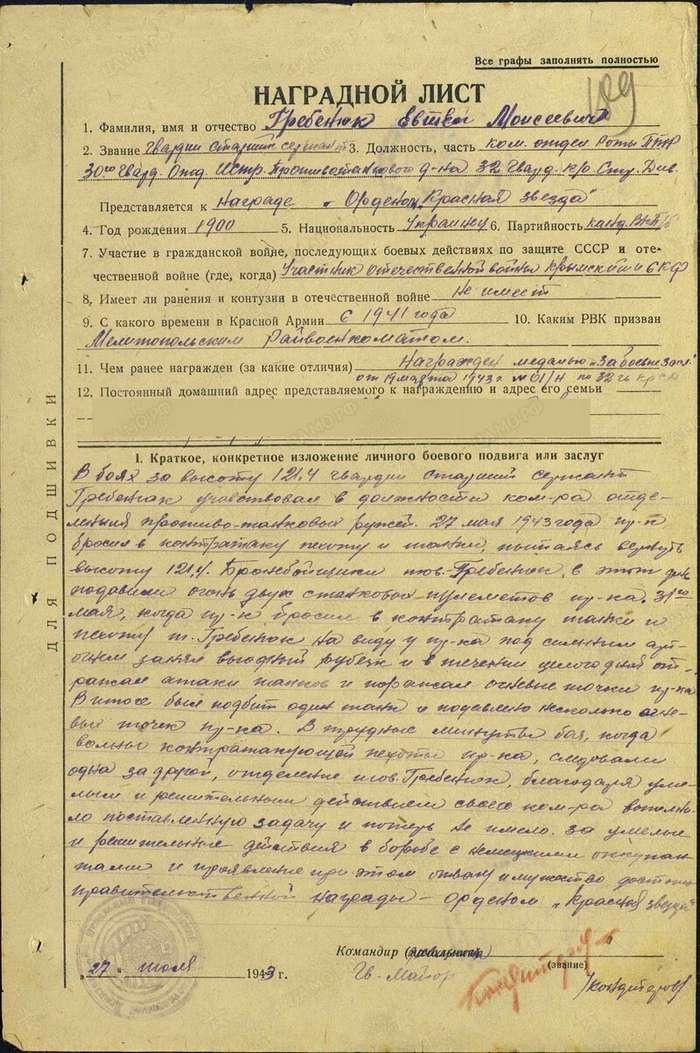 Герои Советского Союза. Евтей Моисеевич Гребенюк   Интересное