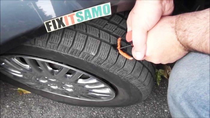 Ремонт прокола без снятия колеса авто и мото