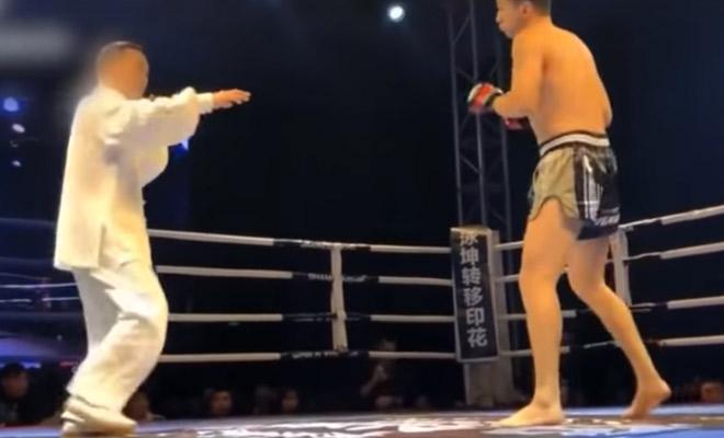 Мастер тайчи вышел против кикбоксера-новичка: продержался 20 секунд боевые искусства