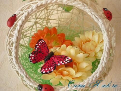 Декоративные гнёздышки из шпагата Игрушки
