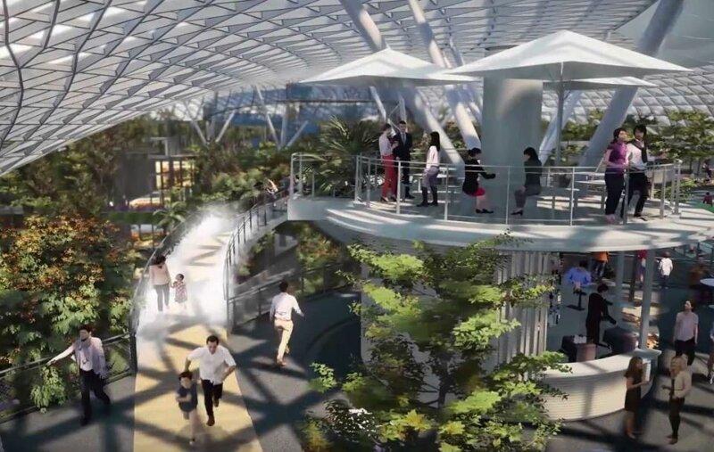 Тропический лес и 40-метровый водопад: открытие нового комплекса аэропорта Чанги архитектура