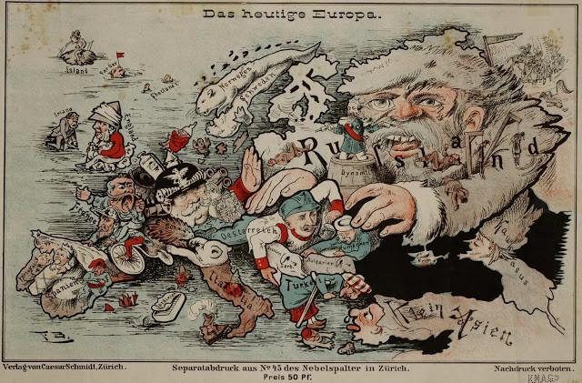 Как рисовали Россию на карикатурных картах иностранцы винтаж